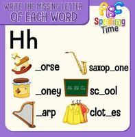riempire la lettera mancante di ogni foglio di lavoro di parole per i bambini vettore