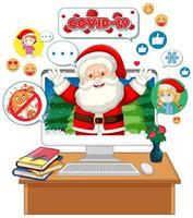 personaggio dei cartoni animati di Babbo Natale sul display del computer vettore