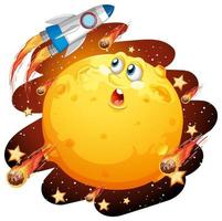 luna con la faccia felice sul tema della galassia spaziale su sfondo bianco vettore
