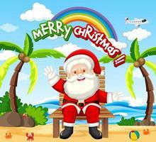 personaggio dei cartoni animati di Babbo Natale nella scena a tema estivo spiaggia vettore
