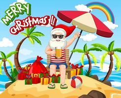 Babbo Natale sull'isola spiaggia per Natale estivo