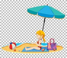 isolato giovane donna sulla spiaggia vettore