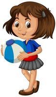 ragazza asiatica che tiene palla di colore
