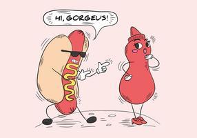 Divertente hot dog e salsa bottiglia personaggio vettore