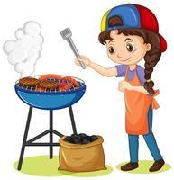ragazza e stufa grill con il cibo su sfondo bianco vettore