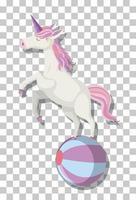 unicorno che gioca palla isolato su sfondo trasparente vettore