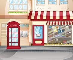 davanti alla vetrina del negozio di abbigliamento con vestiti e accessori