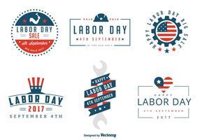 Insieme di vettore di etichette e distintivi di festa del lavoro degli Stati Uniti