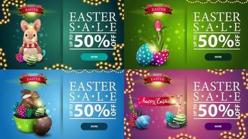 raccolta di banner sconto orizzontale con icone di Pasqua vettore