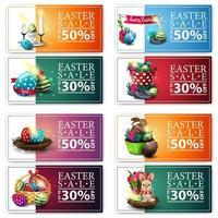 raccolta di banner di sconto con icone di Pasqua del fumetto