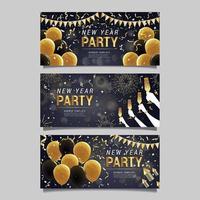 design di banner festa festa in oro nero vettore