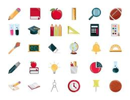 torna a scuola e istruzione set di icone piatte vettore