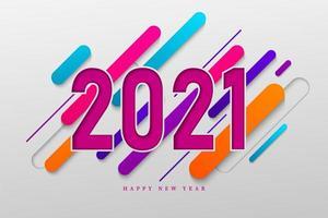 colorato felice anno nuovo 2021 vettore