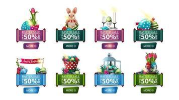 raccolta di banner di sconto con icone di Pasqua vettore