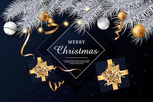 sfondo di Natale con brillanti fiocchi di neve d'oro vettore
