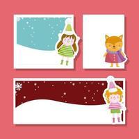 Merry Christmas card set con simpatici personaggi