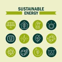 set di icone di energia eco sostenibile, rinnovabile e verde