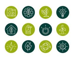 set di icone di energia eco sostenibile, rinnovabile e verde vettore