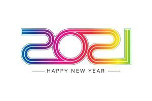 felice nuovo anno 2021 elegante testo in oro con luce vettore