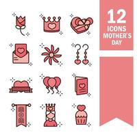set di icone di celebrazione festa della mamma vettore