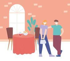 ristorante sulla prevenzione del coronavirus con cena di allontanamento sociale vettore