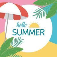 ciao vacanze estive e composizione in spiaggia vettore