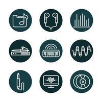 set di icone di suono e audio, musica e volume vettore