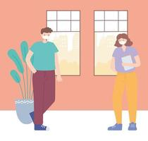 uomo e donna che mantengono misure di allontanamento sociale vettore
