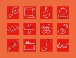 torna a scuola e set di icone di linea di istruzione vettore