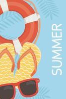 divertenti vacanze estive e composizione in spiaggia vettore