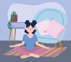 ragazza che pratica yoga, attività di autoisolamento in quarantena