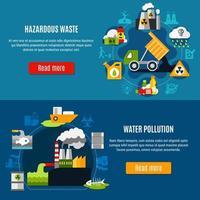set di banner di inquinamento e rifiuti vettore