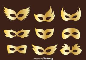 Vettore dorato della raccolta della maschera di travestimento