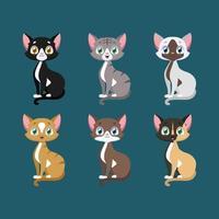 collezione di gatti colorati felici vettore