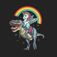 unicorno in sella a un dinosauro grafico vettore