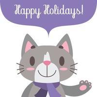 saluto festivo con simpatico gatto vettore