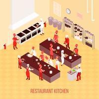 cucina ristorante isometrica vettore