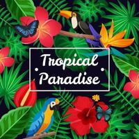 sfondo tropicale con fogliame esotico, fiori e uccelli