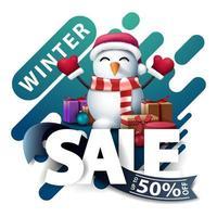 saldi invernali, pop-up di sconto per il sito web vettore