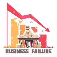 poster retrò dei cartoni animati di fallimento aziendale vettore