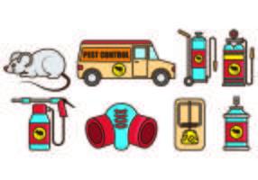 Set di icone Pest Control e Mouse Trap vettore