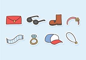Accessori Doodle Icon Pack vettore