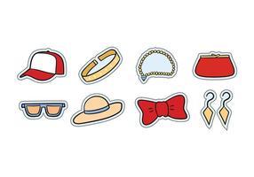 Set di icone di accessori moda vettore