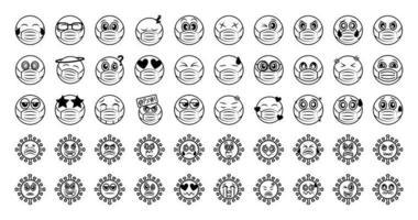 emoticon con maschera facciale e set di icone di coronavirus