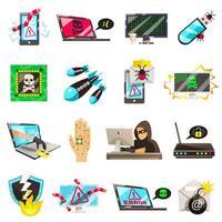 collezione di icone di hacker e sicurezza digitale vettore
