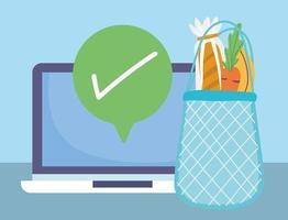 composizione del mercato online con frutta e verdura fresca vettore