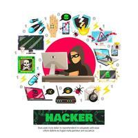 poster modello hacker vettore