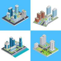 set di composizione isometrica città moderna vettore