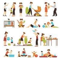 set di icone di babysitter vettore