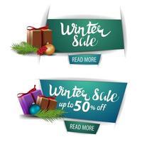 striscioni di vendita invernale con pulsanti e regali isolati vettore